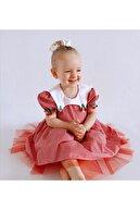 Le Petite Sole Çocuk Kırmızı Kirazlı Kısa Kollu Elbise