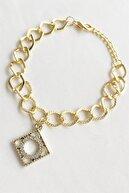Takıştır Kadın Altın Renk Taşlı Zincir Bileklik