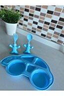 Bayev Çocuk Yemek Seti Figürlü Mama Tabağı Çatal Kaşık- Mavi