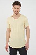Tarz Cool Erkek Ay Işığı Sarı Salaş T-shirt