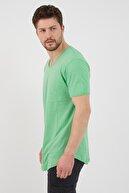 Tarz Cool Erkek Cool Yeşili Pis Yaka Salaş T-shirt tcps001r66s
