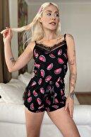 Pijamaevi Kadın Siyah Karpuz Pegasus Dantel Detaylı Ip Askı Şortlu Örme Pijama Takımı