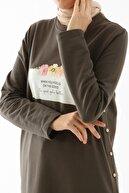 ALLDAY Soft Haki Yan Düğmeli Elbise Tunik