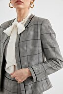 Journey Kadın Ceket Sıfır Yaka, Yaka Ön Ve Kol Ağzı Zıt Renk Biye Kombinli