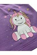 Buse&Eylül Bebe Kız Çocuk Mor Desenli  Elbise
