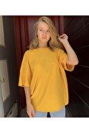 OkeanoX Kadın Sarı Oversize Basic Tshirt
