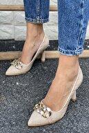 İnan Ayakkabı Sivri Burun Zincir Detaylı Topuklu Ayakkabı