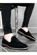 BOA Ba0009 Süet Püsküllü Corcik Siyah Klasik Erkek Ayakkabısı