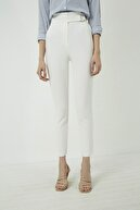Vis a Vis Kadın Ekru Halka Kemerli Yüksek Bel Pantolon