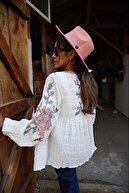 FURKAN EXCLUSIVE Kadın Gül Nakışlı Ponponlu Vintage Salaş Ceket