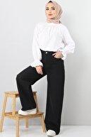 Tesettür Dünyası Bol Paça Kot Pantolon Tsd22007 Siyah