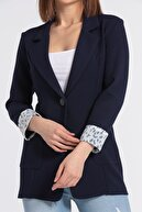 Jument Kadın Lacivert Yakalı Cepli Uzun Kol Katlamalı Blazer Kumaş Ceket