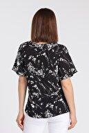 Jument Önden Bağlamalı Volanlı Uzun Kol Bluz - Siyah Çiçek