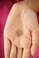 Ninova Silver Kadın Yaşam Çiçeği Model Rose Kaplama Gümüş İtalyan Kolye