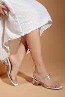 Daxtors D0085 Kadın Beyaz Şeffaf Bant&şeffaf Topuklu Ayakkabı