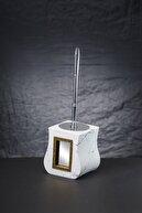 Evinizin Rüyası Aynalı Polyester Banyo Takımı - Mermer Desenli Beyaz Renk 01260105000  5 Parça