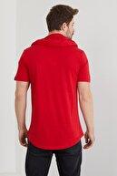 Tarz Cool Erkek Kırmızı Düz Kapşonlu T-shirt-ytsl037r11s
