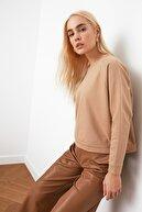 TRENDYOLMİLLA Camel Reglan Kol Basic Örme İnce Sweatshirt TWOAW20SW0055