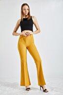 Zafoni Kadın Sarı Ispanyol Paça Kumaş Pantolon