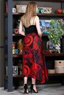 Chiccy Kadın Kırmızı Patch Work Dikişli Anvelop Dokuma Etek M10110000ET99264