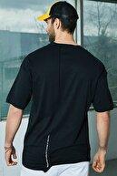 Sateen Men Erkek Siyah Asimetrik T-Shirt