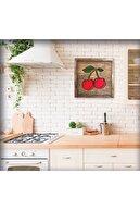 Sticker Sepetim Çizgisel Kiraz I Ahşap Tablo Cherry I Wooden Wall Art Deco