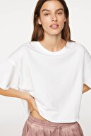 Oysho Kadın Beyaz Organik Pamuklu Basic Tişört