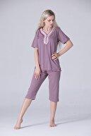 Pijama Denizi Kadın Kısa Kollu Düğmeli Bermuda Kapri Pijama Takımı Dantel Yaka Vizon Pembe