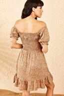 Bianco Lucci Kadın Camel Gipeli İp Askılı Küçük Çiçek Desenli Elbise 10091046