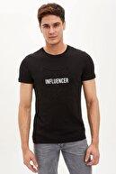 Defacto Erkek Siyah Baskılı Bisiklet Yaka Slim Fit Pamuklu T-Shirt