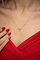 İzla Design Yusufçuk Model Mix Taşlı Rose Kaplama Gümüş Kolye