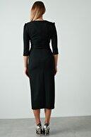 Ayhan Kadın Siyah Kuşaklı Kruvaze Elbise