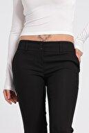 Jument Kadın Hafif Düşük Bel Cepli Duble Paça Ofis Likralı Kumaş Pantolon-siyah