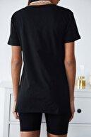 Xena Kadın Siyah Basic V Yaka Yırtmaçlı T-Shirt 1KZK1-11203-02