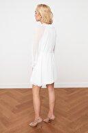 TRENDYOLMİLLA Ekru Fırfırlı Şifon Elbise TPRSS21EL0169