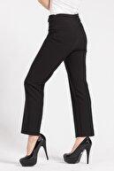 Jument Kadın Yüksek Bel Önü Dikişli Beli Apoletli Düğmeli Boru Paça Kumaş Pantolon-siyah