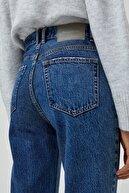 Pull & Bear Kadın Mavi Mom Fit Basic Jean