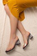 Daxtors D0085 Kadın Siyah Şeffaf Bant&şeffaf Topuklu Ayakkabı