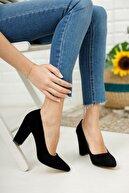 Nirvana ayakkabı Kadın Siyah Süet Yüksek Kalın Topuklu Ayakkabı