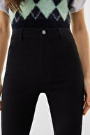 Bershka Kadın Siyah Süper Yüksek Bel Jegging Jean