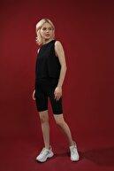 Grenj Fashion Kadın Siyah Pamuk Bisiklet Yaka Crop Kolsuz Örme Tshirt