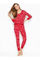 Victoria's Secret Kadın Kırmızı Termal Uzun Pijama Takımı