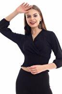 HAKKE Kadın Siyah Kruvaze Yakalı Gipeli Bluz
