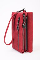 Derin Can Butik Derin Can Kırmızı Telefon Bölmeli Özel Tasarım Cüzdan
