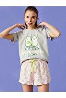 Koton Kadın Sortlu Pijama Takimi Baskili