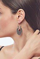 ZeyDor Accessories Kadın Gri Doğaltaşlı Oryantel Tasarım Küpe