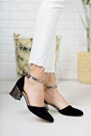 Tolgado Kadın Siyah Süet Garni Topuklu Yeni Klasik