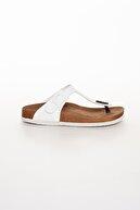 meyra'nın ayakkabıları Kadın Beyaz Klasik Parmak Arası Terlik