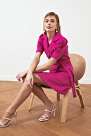 TRENDYOLMİLLA Fuşya Kuşaklı Ceket Elbise TWOSS20EL0236