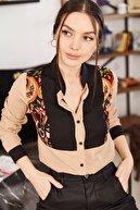 armonika Kadın Bej Üç Renk Şal Desen Gömlek ARM-21K001111